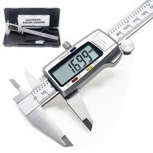 Calibrador Vernier electrónico Digital LCD de 150mm y 6 pulgadas, calibrador de acero inoxidable, micrómetro, herramienta de medición