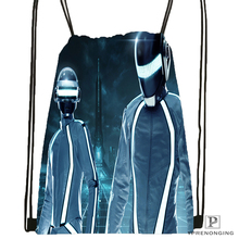 Custom Daft Punk Tron Helmets Drawstring Backpack Bag for Man Woman Cute Daypack Kids Satchel Black