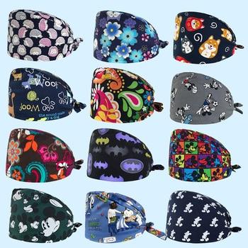 High Quality Pet Grooming Work Cap Unisex Laboratory Hat Animal Printing Scrub Cap Laboratory Cotton Nursing Work Hats Wholesale