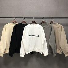 Odblaskowa koszulka z długim rękawem przeciwmgielna koszulka męska 1:1 najlepsza jakość bawełna Essentials gruba koszulka odzież uliczna mgła bluza z kapturem