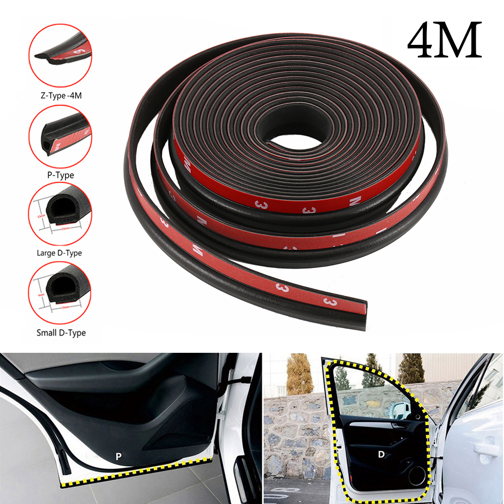 4m Car Seal Strip Edge Trim Weatherstrip Rubber Sealing Strip Sound Insulation For Door Trunk Big D Small D Z Shape P B Type