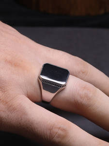 925-Sterling-Silver Ring Gel-Stone Turkish Jewelry Square Black Simple Real Men for