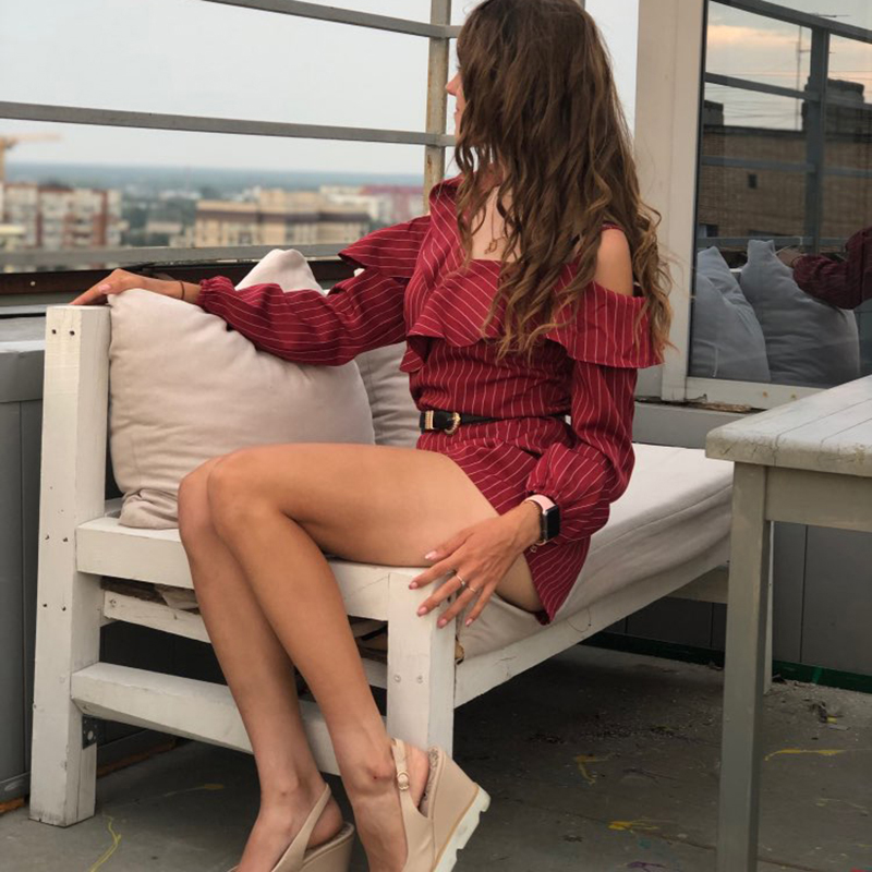 Ruffle Short Women Jumpsuit Striped White Long Sleeve Off Shoulder Black Boho Red Pink Summer Sexy Beach Rompers Women Jumpsuit