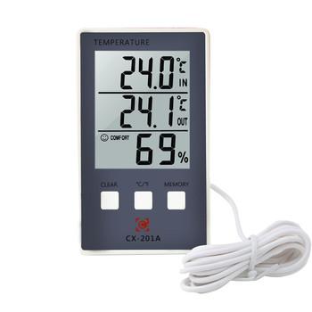 Cyfrowy termometr higrometr wewnętrzny zewnętrzny miernik temperatury i wilgotności C F wyświetlacz LCD sonda czujnika stacja pogodowa tanie i dobre opinie DazedCat Digital Thermometer Hygrometer 50 ° C-69 ° C Czujnik temperatury Gospodarstwa domowego Ładowarka Stojąc Stacji