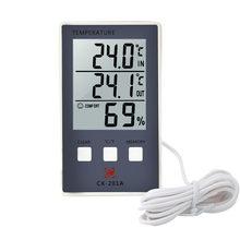 Termômetro digital higrômetro medidor de umidade temperatura ao ar livre indoor c/f display lcd sensor sonda estação meteorológica