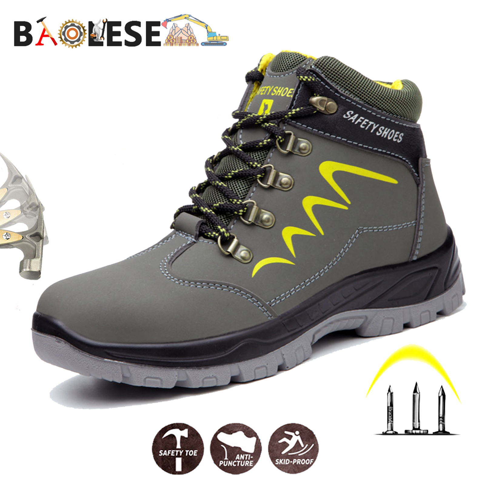 BAOLESEM Man Safety Shoes Winter Safety Man Work Shoes Water-proof Work Shoes Anti-smashing Durable Safety Shoes For Men Shoes