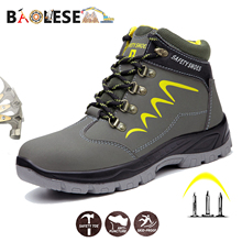 BAOLESEM Man Safety Shoes Winter Safety Man Work Shoes Water