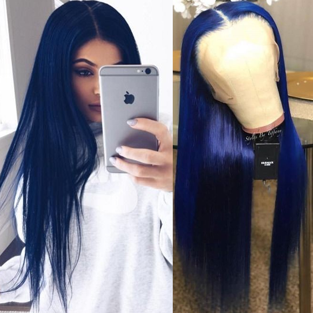 TaBeWay Long Straight Lace Front Wigs Blue Color Wig Heat Resistant Fiber Hair Synthetic Lace Front Wigs For Fashion Women