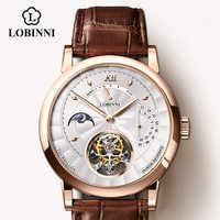 LOBINNI erkek kol saati suiza marca de lujo automático mecánico para hombre relojes de pulsera de cuero de zafiro Real Tourbillon reloj