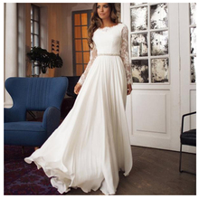SINGLE ELEMENT Long Sleeve O Neck Backless Sexy Chiffon Beaded Party Dress For Bridal Lace Wedding