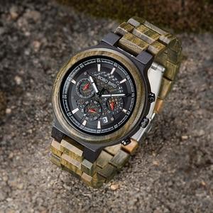 Image 3 - Bobo Vogel Mannen Hout Quartz Horloge Retro Groene Sandelhout Uurwerk Multifunctionele Chronograaf Accepteren Aangepaste Reloj Hombre