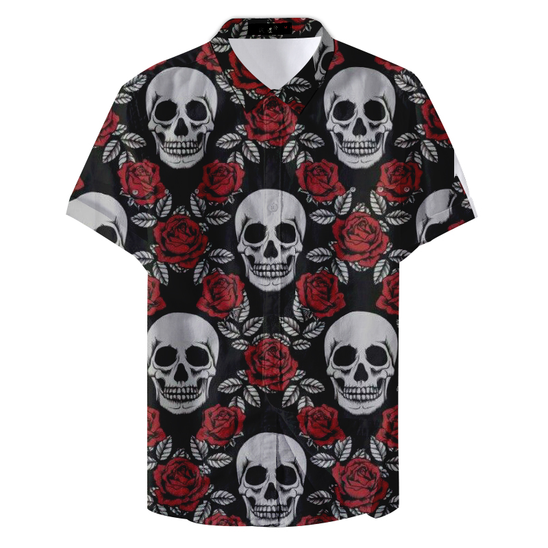 2019 New Summer Pattern Man Skull And Rose Printed Casual Shirt