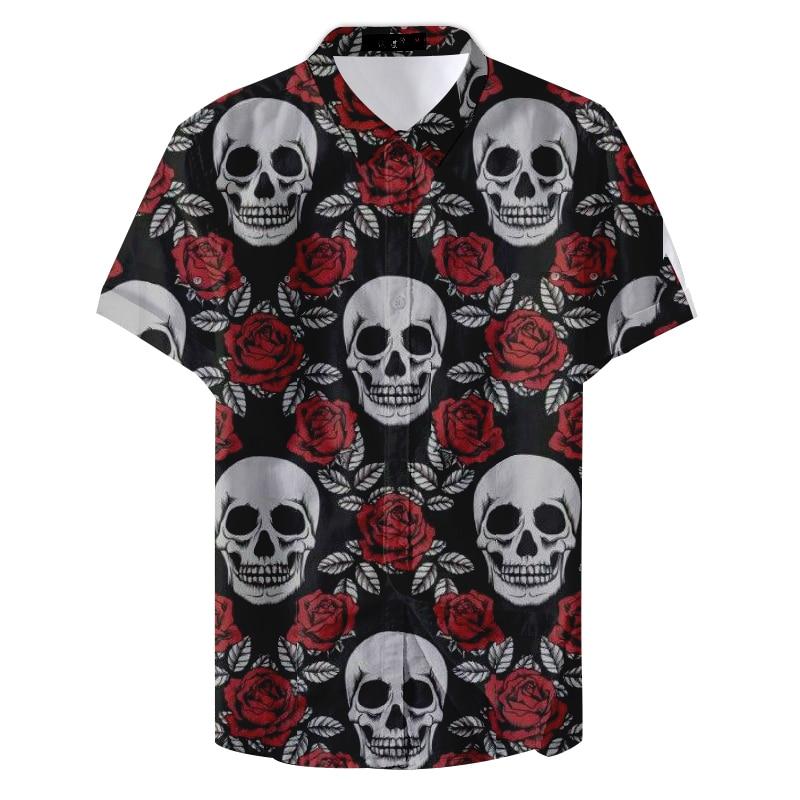 2019 New Summer Pattern Man Skull And Rose Printed Casual Shirt