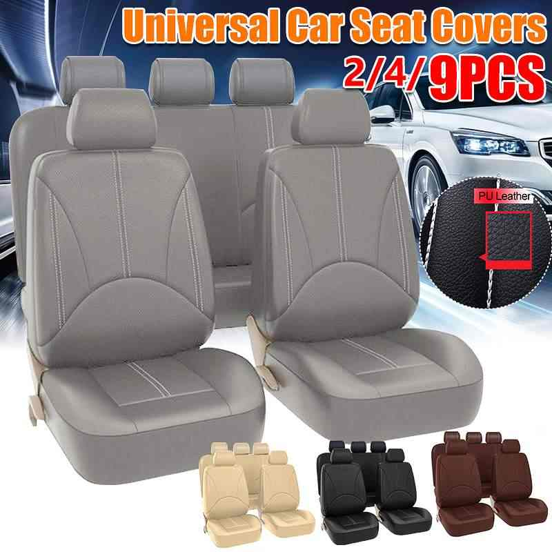 9Pcs Full Set Car Seat Cover Front /& Rear Black Artificial PU Leather Cushion