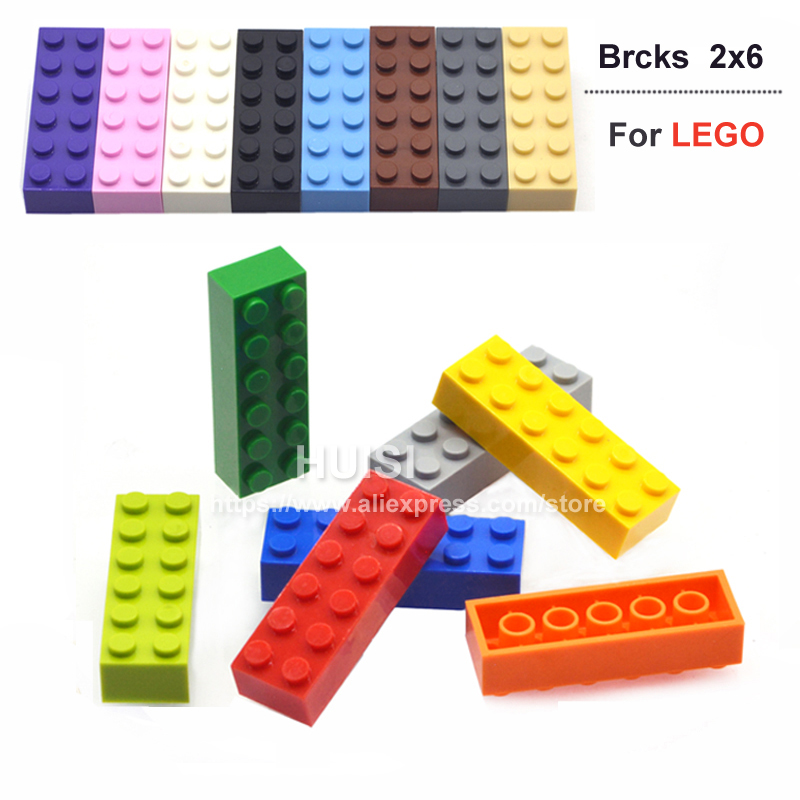 100PCS/LOT Educational Kids Toy Plastic Building Blocks 2X6* Assembling Bricks DIY Baby Toys Particles Compatible With Lego