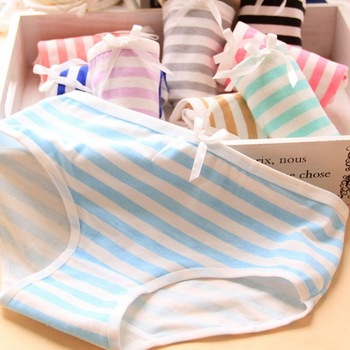 Women Sexy Panties Stripes Low Waist High Quality Bowknot Cute bow-knot Underwear Female Cotton Soft