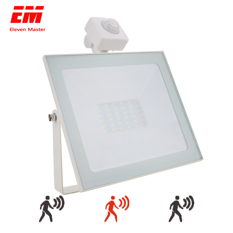 50W LED Flood Light Motion Sensor Waterproof AC110V 220V PIR LED Floodlight Outdoor Projector Lamp Spotlight for Garden ZFG0008