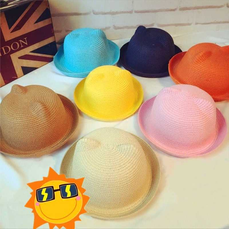 1PCs Breathable Straw Hats Children Summer Hat Solid Girls Boys Caps Kids Fashion Popular Unisex Cute Lovely Cat Ears Sun Tops
