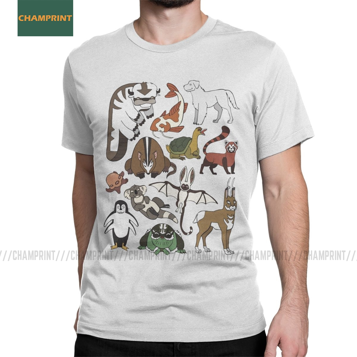 Avatar The Last Airbender Menagerie T Shirt For Men Pure Cotton Leisure T-Shirts Anime Atla Bison Yip Tee Shirt Short Sleeve Top
