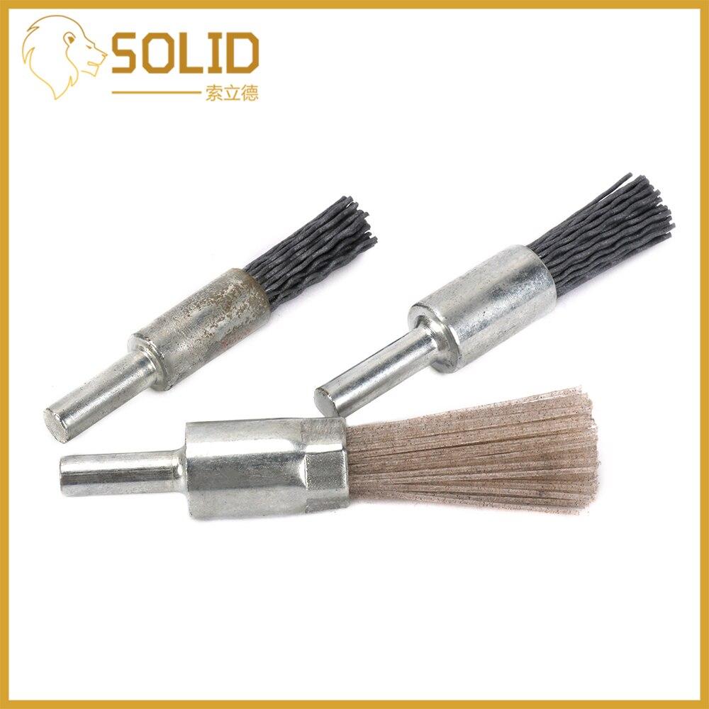 Mini Abrasive Nylon Wire Polishing Brush Kit 10/12/14mm Pen Shaped Rotary Tool 6mm Shank For Woodworking 3Pcs
