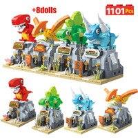 4 in 1 Jurassic World dinosauri Park Building Blocks Tyrannosaurus Rex figure mattoni triceratopo set giocattoli per bambini regali