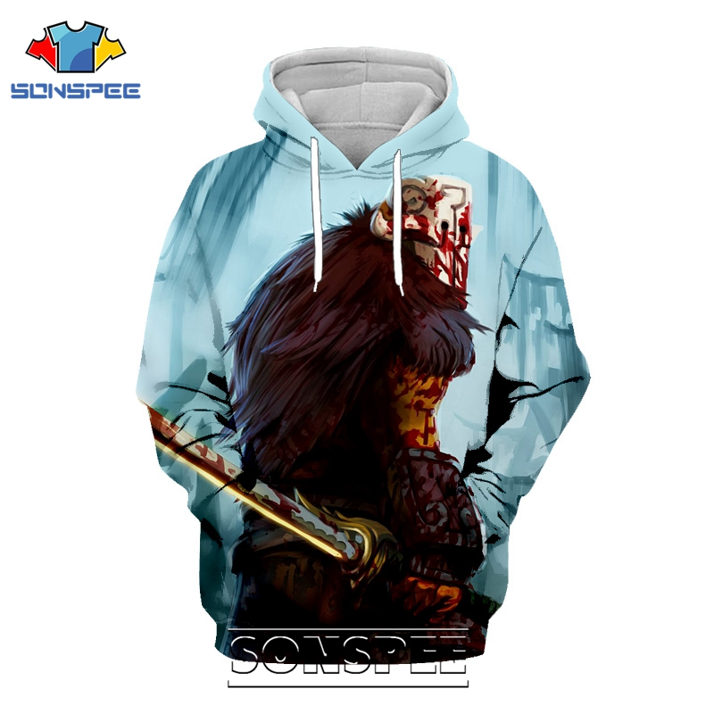 SONSPEE 3D Print Men Women Winter Long Sleeve Dota 2 Hoodie Casual Streetwear Hip Hop Pullover Tops Popular Game Sweatshirt