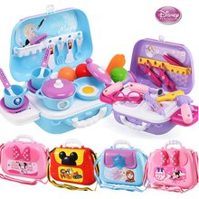 Disney Princess Play House Toy Girl Cosmetic Set Simulation Kitchen Kitchenware Doctor Toolbox Backpack Mickey Minnie Kids Toy(China)