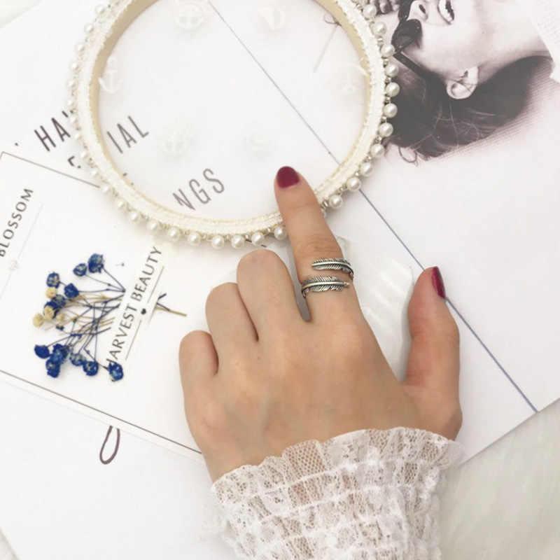 Smjel Bohemia Bulu Cincin untuk Wanita Daun Jari Terbuka Cincin Street Pop Perhiasan