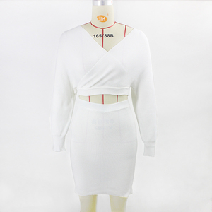 Image 5 - Thereadict White Knitted Suit Two Piece Set Crop Top And Skirt Autumn Winter Sweater 2 Piece Set Women V Neck Female Outfits