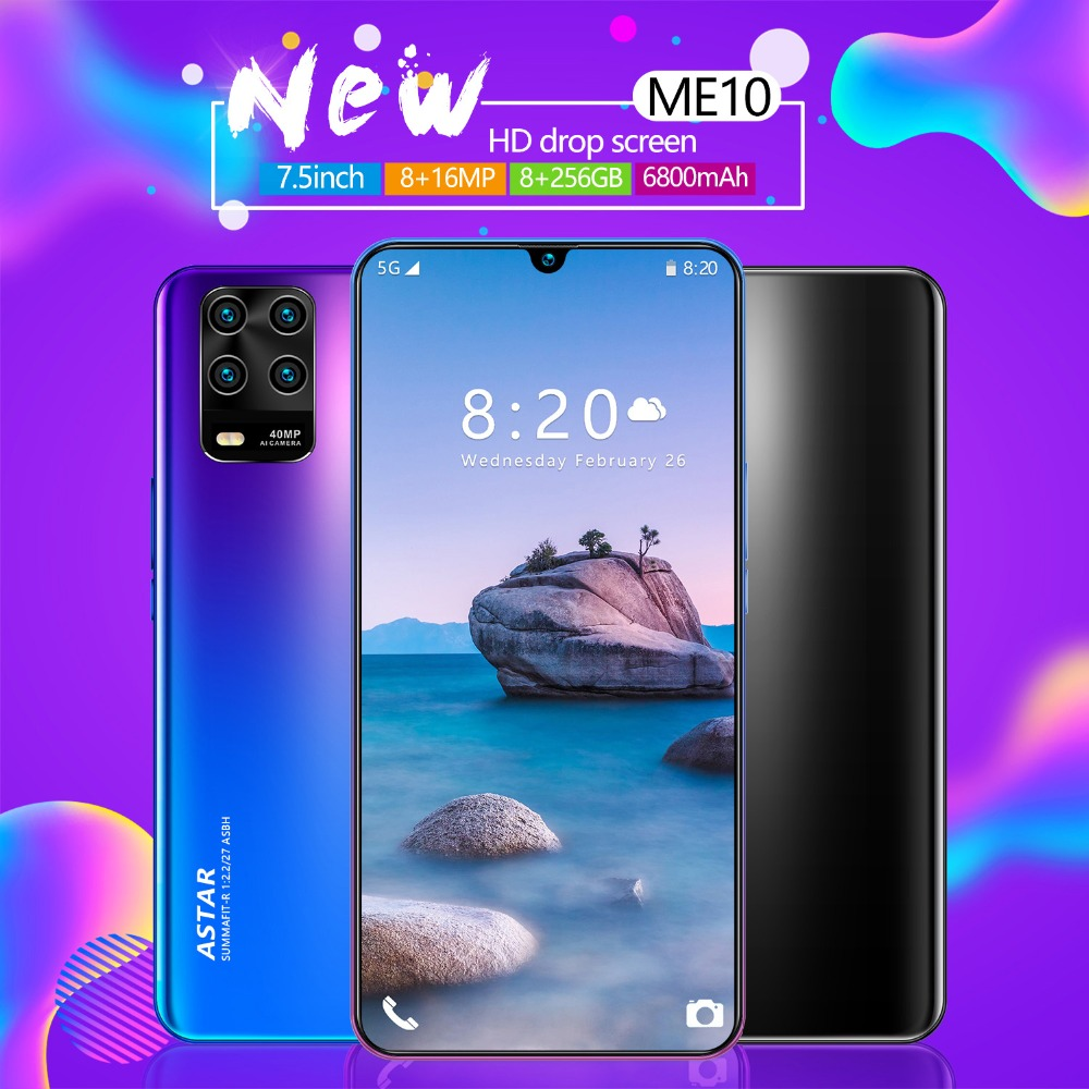 New 7.5 inch ME10 Global Version Android Phone 6800mAh 8GB RAM 256GB ROM 8 Core 5 Camera Snapdragon 855 Smartphone Free shipping