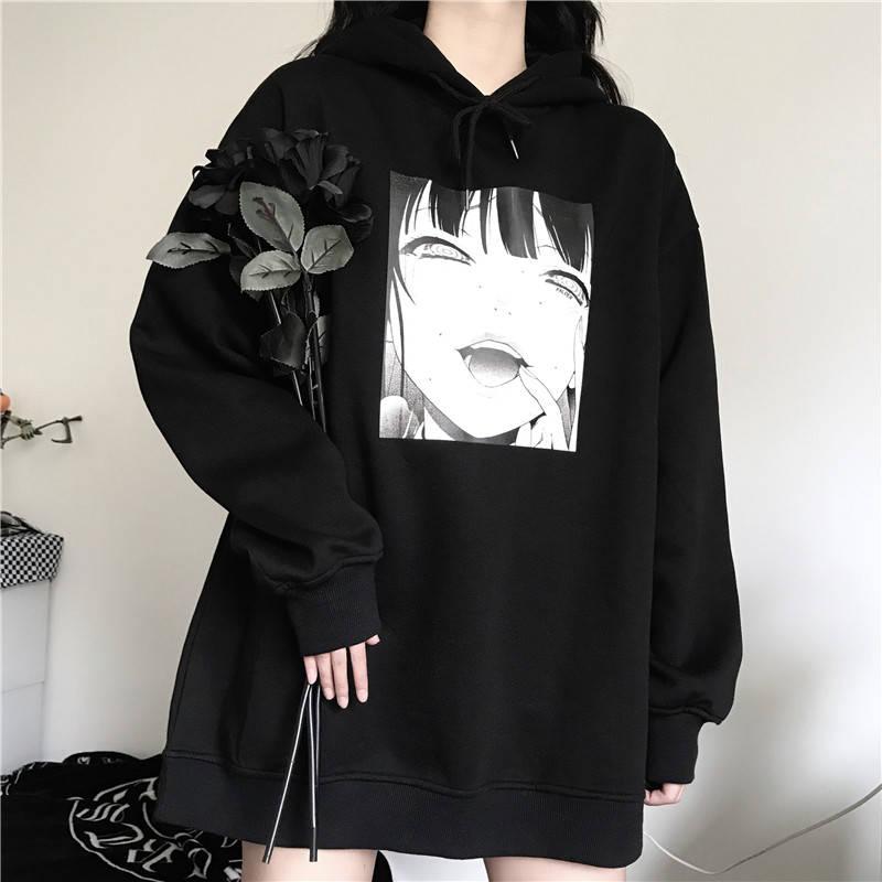 Inverno japonês hoodies das mulheres dos desenhos animados diversão harajuku lazer ulzzang oversized solto mais veludo casual manga longa camisola ins