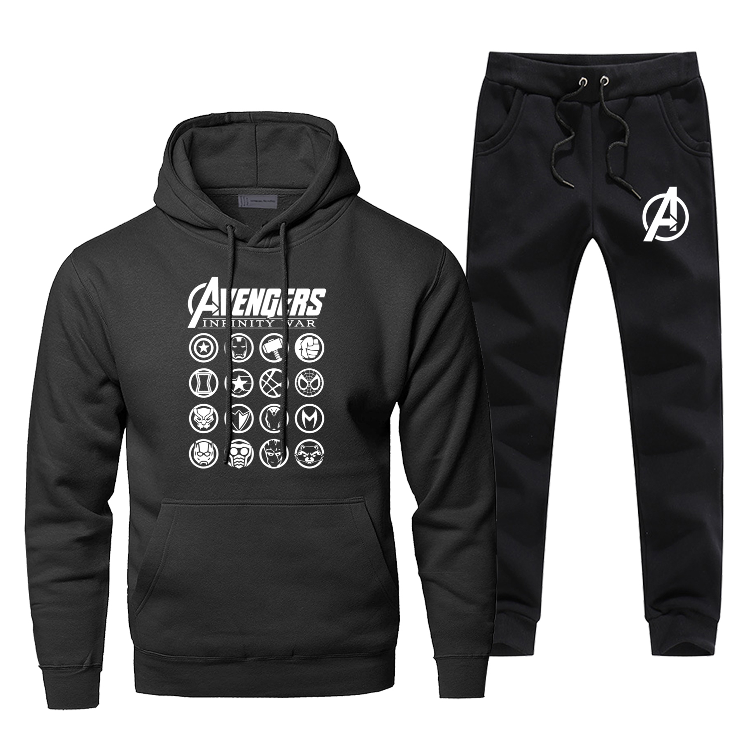 Fashion Marvel Hoodie Infinity War Avengers Logo Print Hoodies Pants Sets Sweatshirt Men Fleece Sportswear Harajuku Streetwear