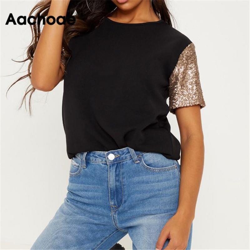 Summer T Shirt For Women 2020 New Fashion Sequin Patchwork Short Sleeve T-shirt Casual Loose O-neck Tunic Tops Tees Plus Size