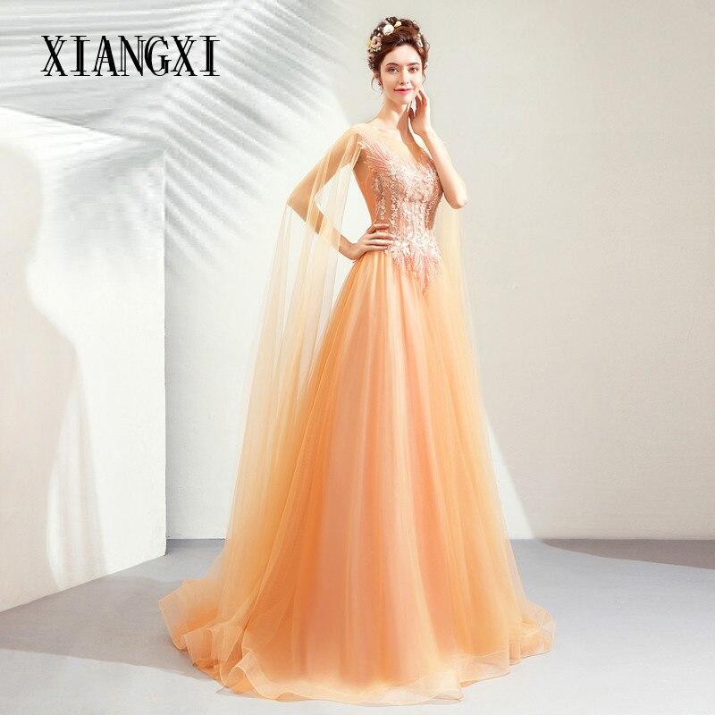 Vestido De Festa Orange Evening Dresses Tulle A-Line Lace Appliques Evening Dress Long Formal Gowns Party Dresses Robe de soiree