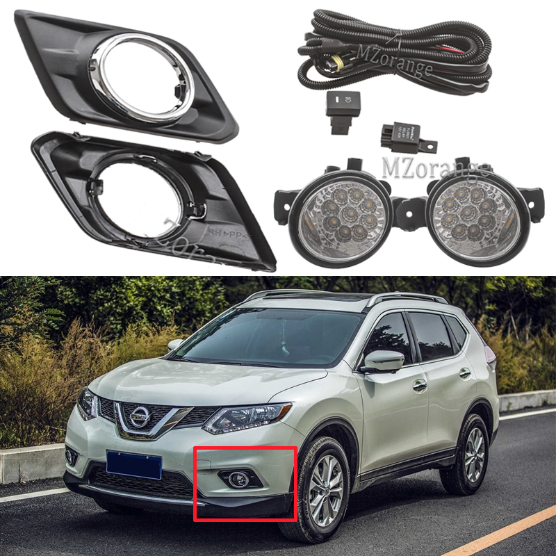 For Nissan X Trail T32 Rogue 2014-2017 Fog Lights Headlight LED Fog Light Switch Harness Cover Wiring Halogen Fog Lamps Frame