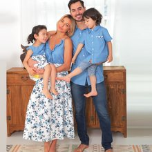 Tenues assorties en Denim pour toute la famille, vêtements à manches courtes pour mère et fille