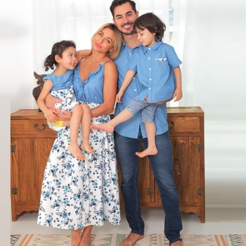 Denim Family Matching Outfits Look Tank Flower Mother Daughter Dresses Mom Baby Mommy and Me Clothes Short Sleeve Dad Son Shirts