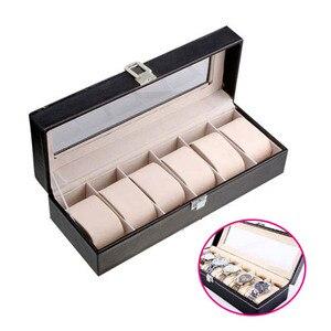 Image 1 - Caja de almacenamiento de reloj de cuero PU de 6 rejillas, gran oferta, soporte de reloj de pulsera rectangular, estuche de exposición de joyería para regalos LL @ 17