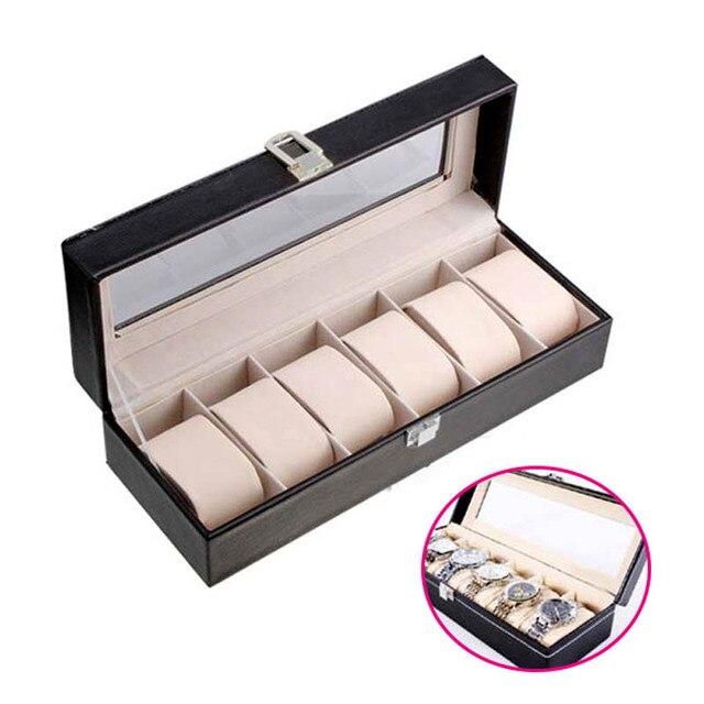 Caja de almacenamiento de reloj de cuero PU de 6 rejillas, gran oferta, soporte de reloj de pulsera rectangular, estuche de exposición de joyería para regalos LL @ 17