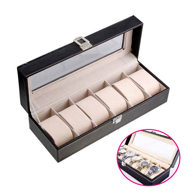 Hot Sale 6 Grid PU Leather Watch Storage Box Rectangle Wristwatch Holder Jewelry Display Case For Gifts  LL@17