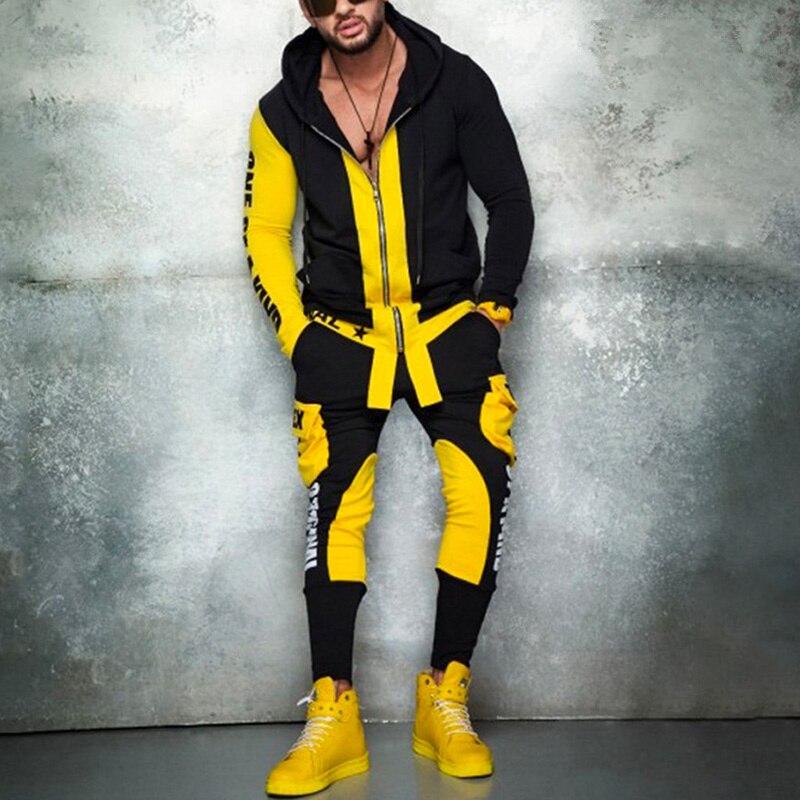 Men's Hip Hop Sports Hoodies and Pants Set Autumn Running Tracksuit Fashion Sportswear Sweatshirts Set Punk Rock KPOP Streetwear