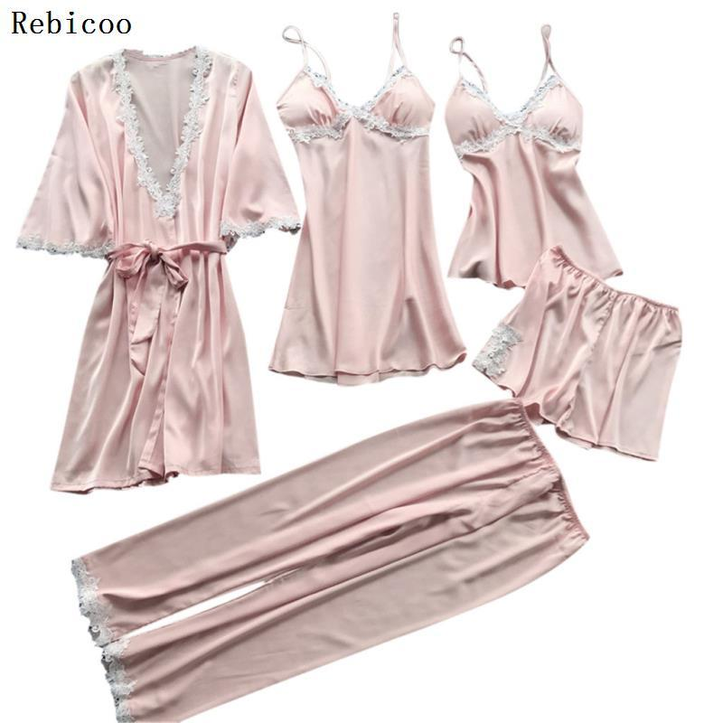 Women Sleepwear 5PC   Pajama     Sets   Plus Size 3XL Sexy Lace Satin Nightwear Babydoll Lingerie Intimate Ladies pijama mujer