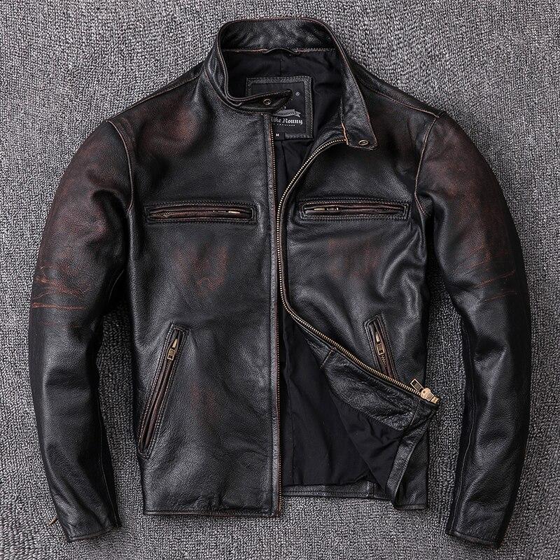 Vintage Genuine Leather Jacket Men 100% Real Cow Leather Coat Short Biker Motorcycle Leather Jackets 2020 KJ2539