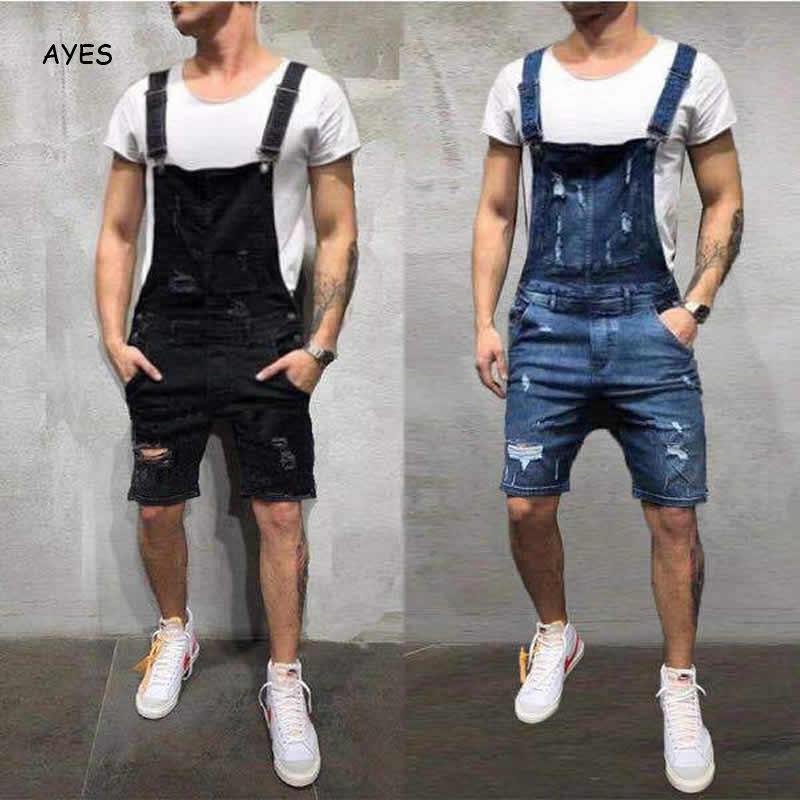 2019 Fashion Men Short Ripped Jeans Jumpsuits Shorts Distressed Denim Shorts Bib Overalls Mens Casual Suspender Pant Shorts Male