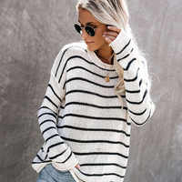 ALLNeon Casual Women's Jumpers Striped Plus Size Knitted Pullovers White Sweaters Ladies Streetwear 2019 Autumn Clothes Female