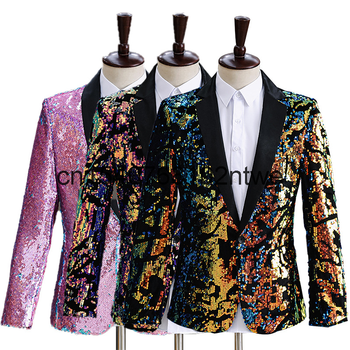 Fashion buckle men's stage dress temperament slim new bright color charming men's stage performance clothes in spring and summer 1