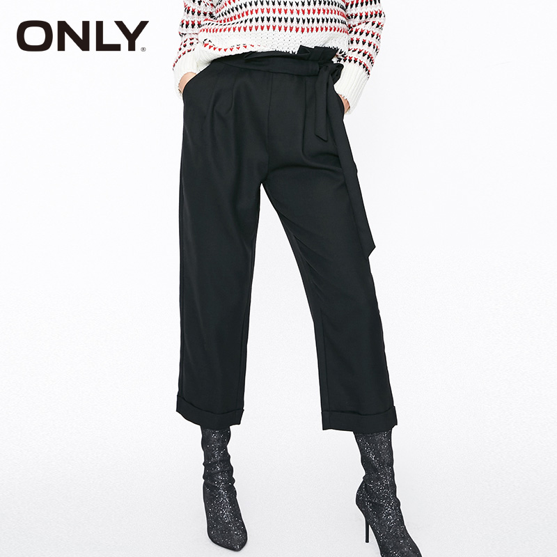 ONLY Women Black High-rise 70% Wool Casual Pants Trousers | 11836J524
