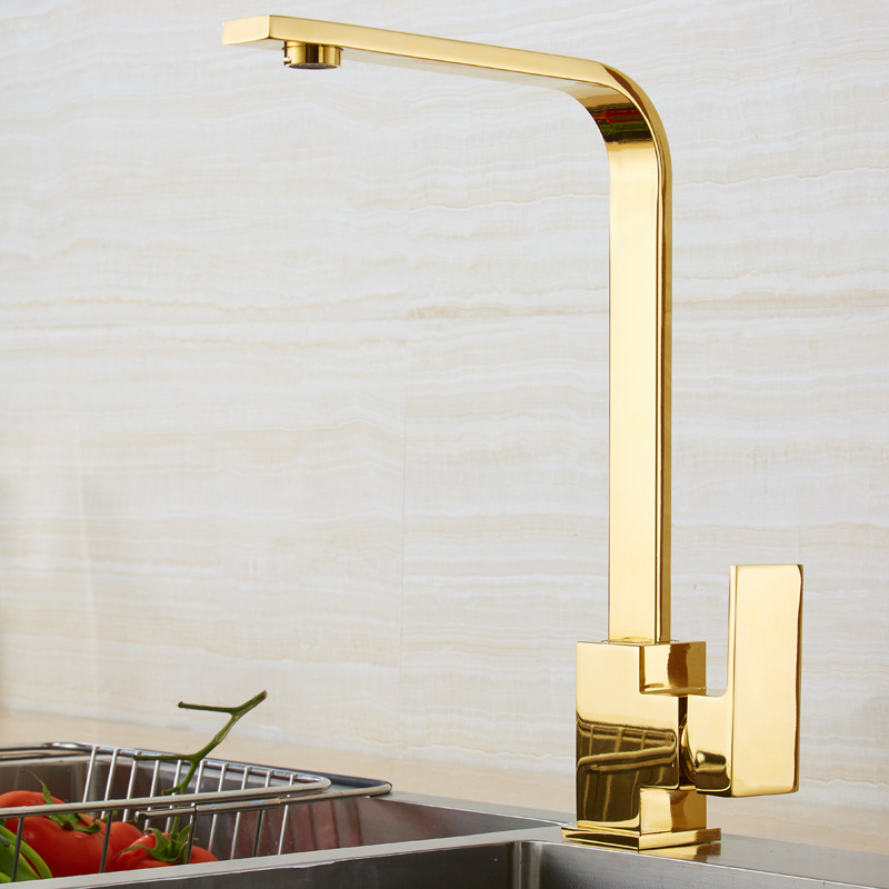 Kitchen Faucets Brass Kitchen Sink Water Faucet 360 Rotate Swivel Faucet Mixer Single Holder Single Hole Rose Gold Mixer Tap