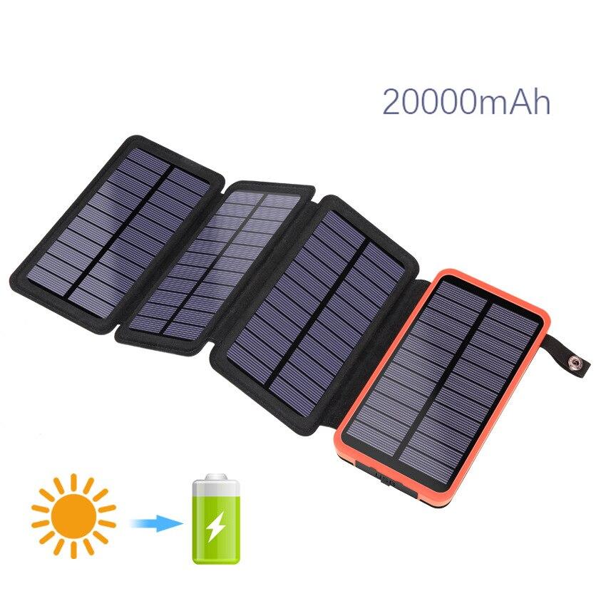 Складной Soar Power Bank 10000 мАч водонепроницаемый 2/3/4 солнечная панель Powerbank с наружным фонариком для кемпинга путешествия повербанк заряда