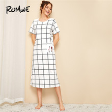 ROMWE Figure Print Plaid Night Dress Women Casual Round Neck Pocket Sleepwear 2019 Short Sleeve Midi Sleeping Nightwear